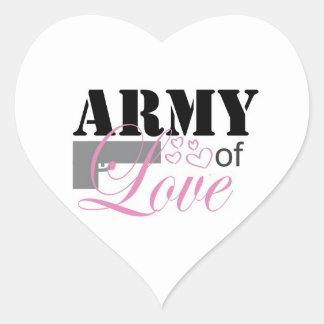 Ejército de pegatinas del amor pegatina en forma de corazón