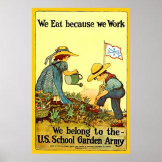 Ejército del jardín de la escuela - impresión póster