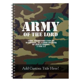 Ejército del señor, escritura Camo de la biblia Libros De Apuntes