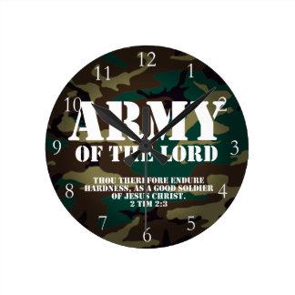 Ejército del señor, escritura Camo de la biblia Reloj Redondo Mediano