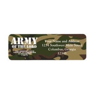 Ejército del señor etiqueta de remite