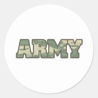 Ejército en camo pegatina redonda