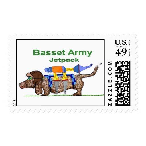 Ejército Jetpack, arte pop de Basset Hound de Jon Envio