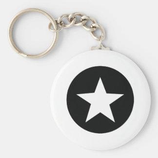 ejército negro del icono de la estrella llavero redondo tipo pin