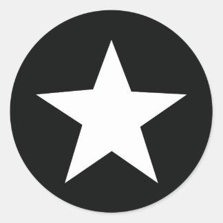 ejército negro del icono de la estrella pegatina redonda