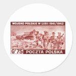 Ejército polaco de WWII en Libia Etiquetas Redondas