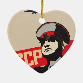 EJÉRCITO ROJO DE LA FUERZA AÉREA SOVIÉTICA ADORNO DE CERÁMICA EN FORMA DE CORAZÓN