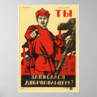Ejército rojo soviético 1920 de URSS Póster