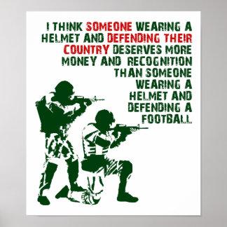 Ejército sobre el poster divertido de los deportes
