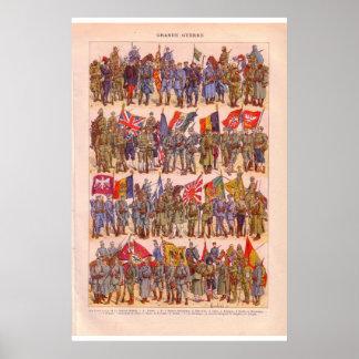 Ejércitos del vintage del mundo, con las banderas  póster