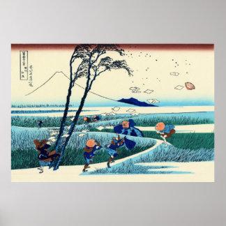 Ejiri en la provincia de Suruga, por Katsushika Póster
