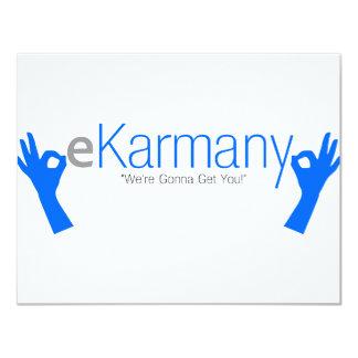 """¡eKarmany- """"vamos a conseguirle! """" Invitación 10,8 X 13,9 Cm"""
