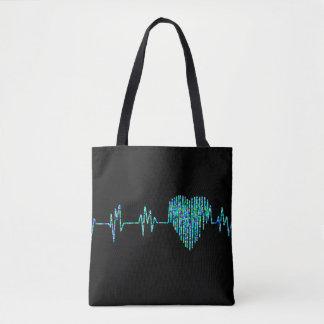 EKG heart tote