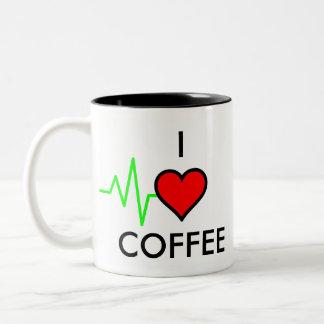 EKG Heart Two-Tone Coffee Mug