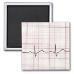 EKG heartbeat on graph paper, PhD (doctor) pulse 2 Inch Square Magnet