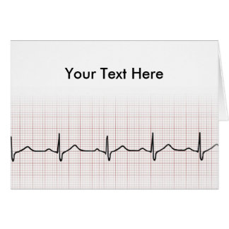 EKG heartbeat on graph paper, PhD (doctor) pulse Card