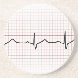 EKG heartbeat on graph paper, PhD (doctor) pulse Coaster