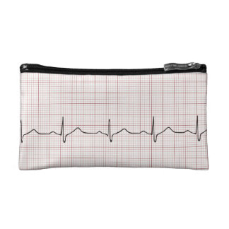 EKG heartbeat on graph paper, PhD (doctor) pulse Cosmetic Bag