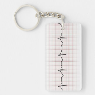 EKG heartbeat on graph paper, PhD (doctor) pulse Double-Sided Rectangular Acrylic Keychain