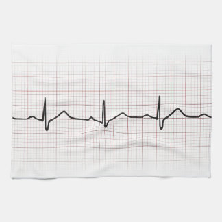 EKG heartbeat on graph paper, PhD (doctor) pulse Hand Towels
