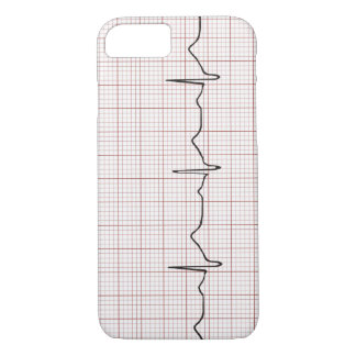 EKG heartbeat on graph paper, PhD (doctor) pulse iPhone 7 Case