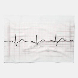 EKG heartbeat on graph paper, PhD (doctor) pulse Kitchen Towel