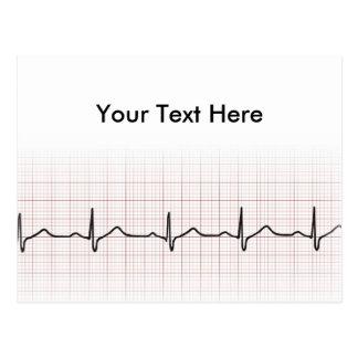 EKG heartbeat on graph paper, PhD (doctor) pulse Postcard
