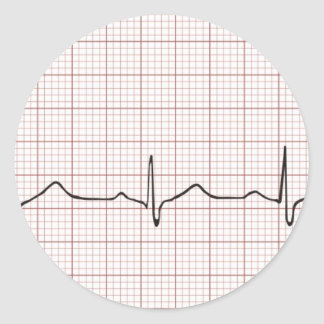 EKG heartbeat on graph paper, PhD (doctor) pulse Round Sticker