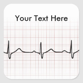 EKG heartbeat on graph paper, PhD (doctor) pulse Square Sticker