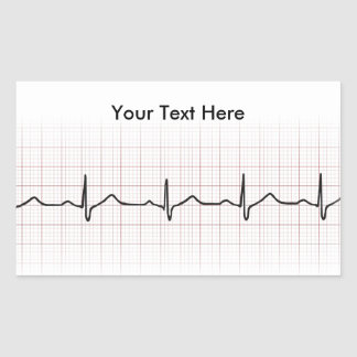 EKG heartbeat on graph paper, PhD (doctor) pulse Rectangle Sticker