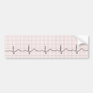 EKG heartbeat on graph paper, pulse beating Bumper Stickers