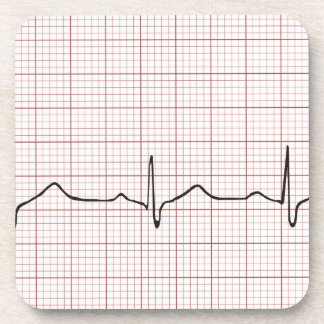 EKG heartbeat on graph paper, pulse beating Beverage Coasters
