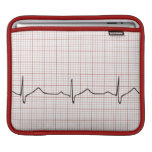 EKG heartbeat on graph paper, pulse beating iPad Sleeve