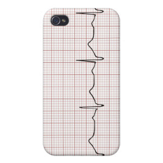 EKG heartbeat on graph paper pulse beating Cases For iPhone 4