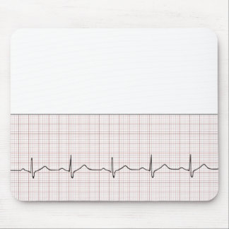 EKG heartbeat on graph paper, pulse beating Mouse Pad