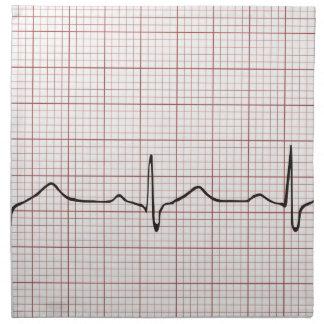 EKG heartbeat on graph paper pulse beating Cloth Napkin