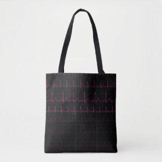 EKG Heartbeat Tote Bag