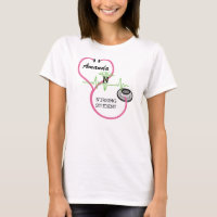 EKG Pink Stethoscope Caduceus Nursing Student Name T-Shirt