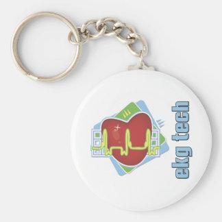 EKG Tech Basic Round Button Keychain