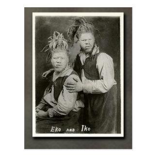 """Eko and Iko """"Men from Mars"""" Circus Performers Postcard"""