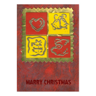 ekos red-yellow Merry Christmas Gift Tag Large Business Card