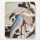 el 松に鶴, 北斎 Cranes en el árbol de pino, Hokusai, Tapetes De Ratones
