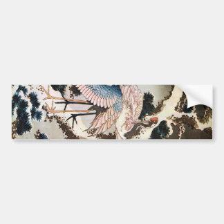 el 松に鶴, 北斎 Cranes en el árbol de pino, Hokusai, Uk Etiqueta De Parachoque