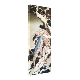 el 松に鶴 北斎 Cranes en el árbol de pino Hokusai Uk Lona Envuelta Para Galerias