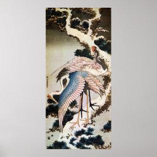 el 松に鶴, 北斎 Cranes en el árbol de pino, Hokusai, Uk Póster