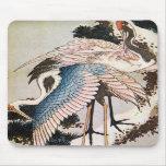 el 松に鶴, 北斎 Cranes en el árbol de pino, Hokusai, Uk Alfombrillas De Ratón