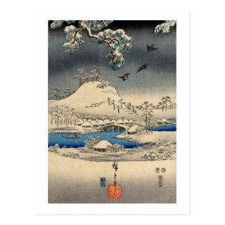 el 雪景色に雀, gorriones del 広重 en nieve ajardina, Hiro Postal