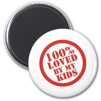El 100% amado por mis niños para los padres imán redondo 5 cm
