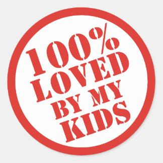 El 100% amado por mis niños para los padres pegatinas redondas