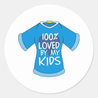 El 100% amado por mis niños etiqueta redonda